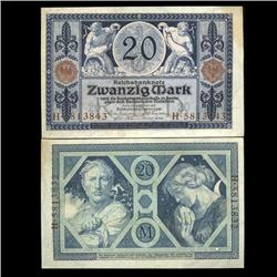 1915 Germany 20 Mark Note Hi Grade Very Rare (CUR-05660)