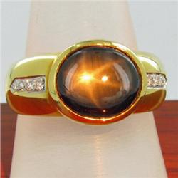 23k Solid Yellow Gold Mens Diamond Black Star Sapphire Ring 8 grams (JEW-1428)