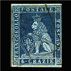 1851 RARE Italy Tuscany 6cr Postal Stamp Hi Grade (STM-0165)