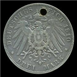 1910 Germany Saxony 3 Mark Rare Hi Grade Holed (COI-5244)
