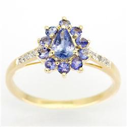 1.12Ct Natural Tanzanite & Diamond Yellow 9K Gold Ring (JEW-9165X)
