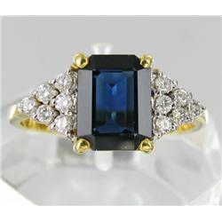 2.3ct Top Ceylon Blue Sapphire VVS & .22ct VVS White Dimond 18k Gold Ladies Ring (JEW-1769)