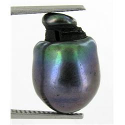 13.18ct South Sea Saltwater Baroque Pearl Iridescent Black/Purple RARE 17mm (JEW-1880)
