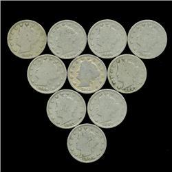 10 US Liberty V Nickel Coin Lot  (COI-454)