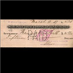 1894 Merchantile Trust San Francisco Cashiers Check (COI-3263)