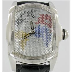 New Techno Com Diamond Bezel Mens World Map Tank Watch Retail $2245 (WAT-151)