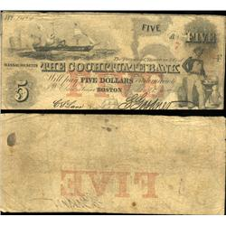 1830 Cochituate Bank Boston $5 Note Better Grade (CUR-06250)