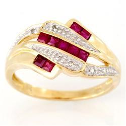 1.06Ct Natural Ruby & Genuine Diamond 9K Gold Ring (JEW-9026X)