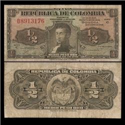 1948 Colombia 1/2 Peso Hi Grade Note RARE (CUR-05827)