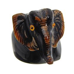 """Excellent piece; finely carved RARE water buffalo horn; 7/8"""" inside (JEW-278)"""