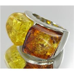 80ct Baltic Amber White Gold Vermeil Ring (JEW-1790)