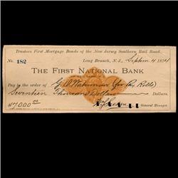 1874 FNB Redbank NJ Railroad Mortagage Check (COI-3270)