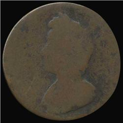 1736 Britain George III Farthing Circulated 270 YEARS OLD (COI-7067)