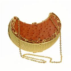 Ostrich Egg Lemon Wedge Shaped Clutch Purse (ACT-031)