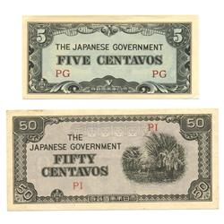 1942 WW2 Japanese Occupation 5 & 50 cent   (COI-1039)