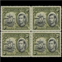 1938 Grenada 3p Postage Stamp Block PREMIUM (STM-0613)