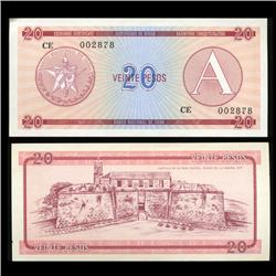 1985 Cuba 20 Peso Foreign Exchange Crisp Uncirculated Note RARE Series A (CUR-05593)