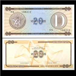 1985 Cuba 20 Peso Foreign Exchange Crisp Uncirculated Note RARE Series D (CUR-05964)