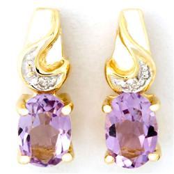 1.24Ct Pink Amethyst & Diamond Earrings 9K Gold (JEW-9023X)