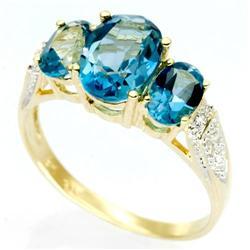 3.00Ct London Blue Topaz 10 Diamond Ring Yellow 9K Gold (JEW-9042X)