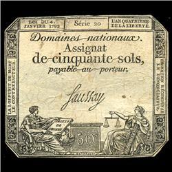 1792 France RARE 50 Sols Assignat Currency Hi Grade (CUR-05884)