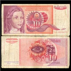 1990 Yugoslavia 10 Dinara Scarce Circulated Note (CUR-05692)