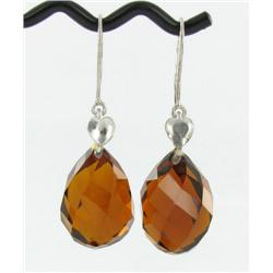 61.20ct Noble Earrings Briolette Madeiria Citrine (JEW-1588)