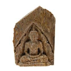 Hand Carved Petrified Wood Thai Buddha (CLB-181)