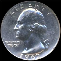 1962 Washington 25c Silver Quarter Coin Graded GEM (COI-6845)