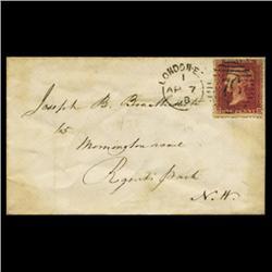 1858 RARE British 1p Red on Cover PREMIUM (STM-0624)