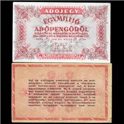 1946 Hungary 1000000 Pengo Tax Note Hi Grade Scarce (CUR-05766)