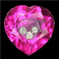 2.6ct Natural White Diamond 18k Gold & Lab Rubelite (GEM-16429)