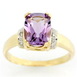 2.58Ct Pink Amethyst & Diamond Solid 9K Gold Ring (JEW-9158X)