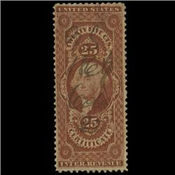 1862 US 25c Documentary Revenue Stamp NICE (STM-0556)
