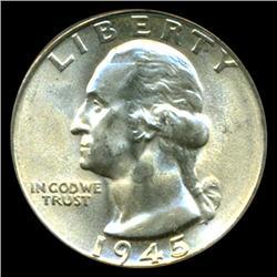 1945 Washington 25c Quarter Coin Graded PCGS MS65 (COI-5303)