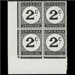 1952 Grenada 2p Postage Due Stamp Block PREMIUM (STM-0621)