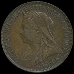 1901 Britain Victoria Half Penny High Grade (COI-7062)