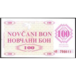 1992 Bosnia Rare 100 Dinara Note CU  (COI-1203)