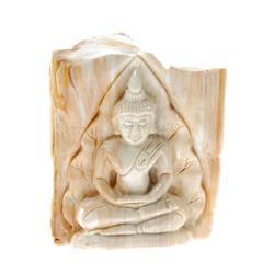 Hand Carved Petrified Wood  Thai Buddha (CLB-024)