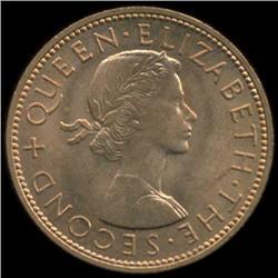 1963 New Zealand Penny Elizabeth BU MS64+ (COI-6967)