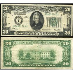 1928 $20 Federal Reserve Chicago Note Crisp Circulated Scarce (CUR-06237)