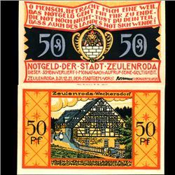 1921 Germany Zeulenroda 50 Pfennig Crisp Uncirculated Note (COI-3983)