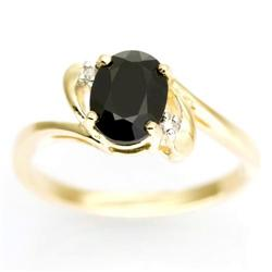 1.72Ct Black Sapphire & Genuine Diamond 9K Gold Ring (JEW-9164X)