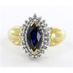1.7ct Ceylon Blue Sapphire & Diamond 10k Gold Ladies Ring (JEW-1506)