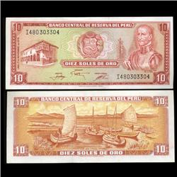 1968 Peru 10 Soles Crisp Uncirculated Note (CUR-05603)
