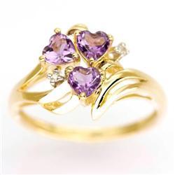 0.85Ct Heart Amethyst & Diamond Solid 9K Gold Ring (JEW-9095X)