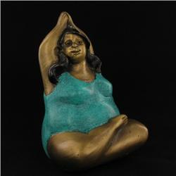Brass Yoga Woman Statue Seated (CLB-542)