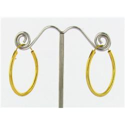 """22k Gold Vermeil Earrings 1"""" (JEW-1599)"""