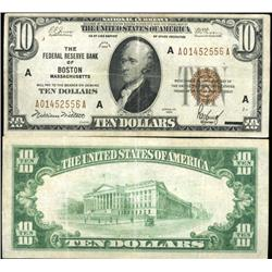 1929 $10 Federal Reserve Bank Boston Note Crisp Circulated XF/AU Scarce (CUR-06233)