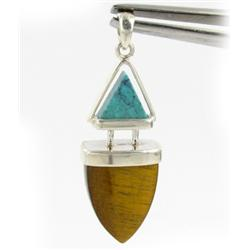 25ct Tiger Eye & Turquoise Pendant Super Sparkler With Sterling (JEW-1731)
